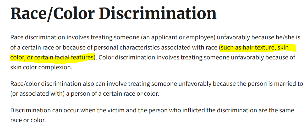 Race color descrimination